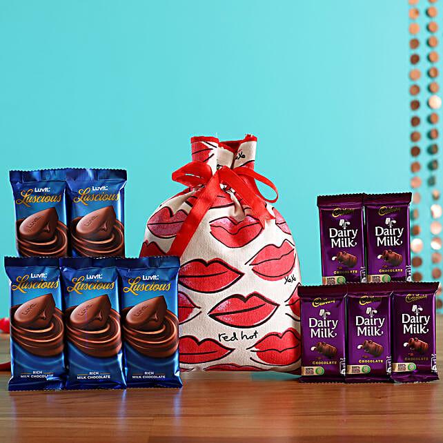 Luscious Chocolates In Kiss Potli Online:Luvit Chocolates