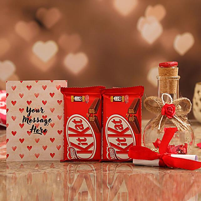 Personalised Message In Love Bottle & Nestle KitKat Online