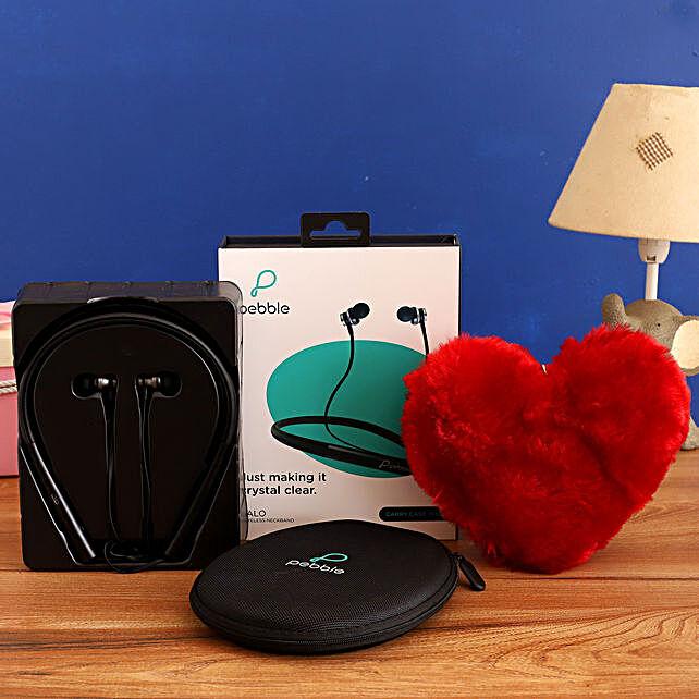 combo of Pebble Bluetooth Neckband Earphones & Red Heart