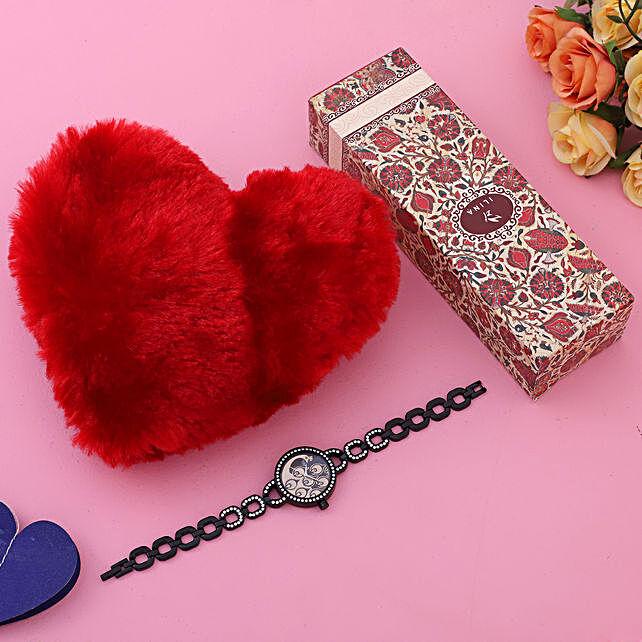 Elegant Black Watch Love Red Heart