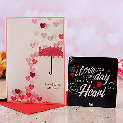 online vday theme greeting card with table top