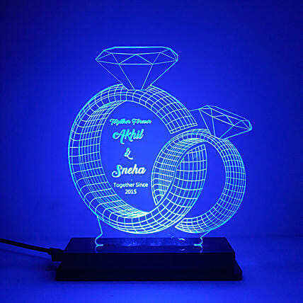 Personalised Couple Rings LED Lamp