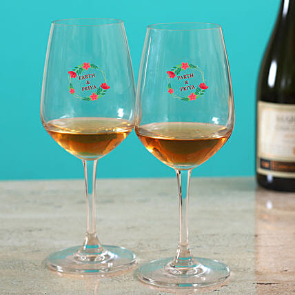 Personalised Couple Wine Glass:Buy Personalized Wine Glasses