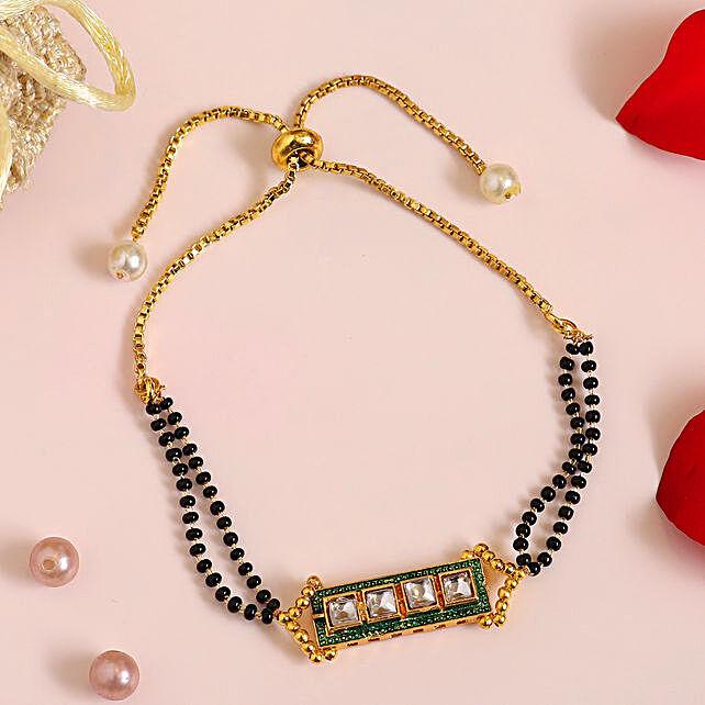 Traditional Kundan Bracelet With Slider Chain T9