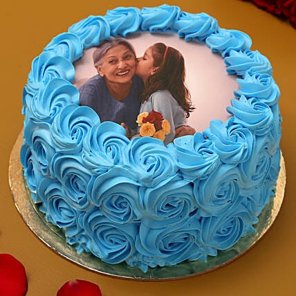 Blue Roses Photo Chocolate Cake