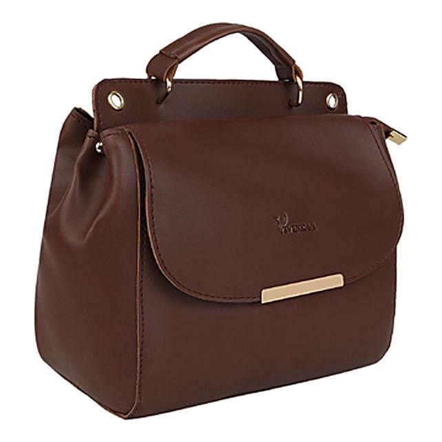 Vivinkaa Leatherette Flap Compartment Sling Coffee:Buy Handbags