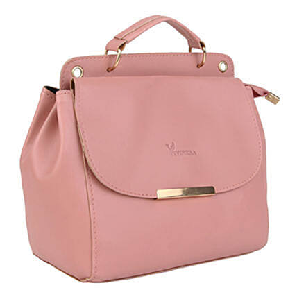 Vivinkaa Leatherette Flap Compartment Sling Pink