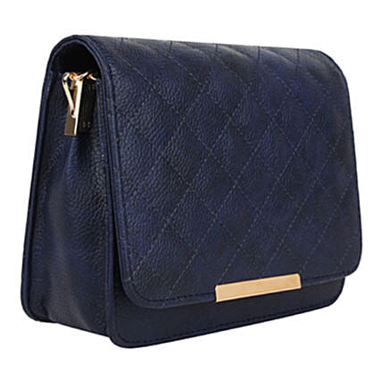 Vivinkaa Leatherette Quilt Embroidered Sling Bag Navy