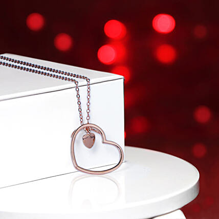 Rose Gold Heart Pendant With Chain