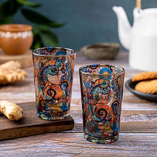 Kolorobia Peacock Admiration Chai Glass Set Of 2
