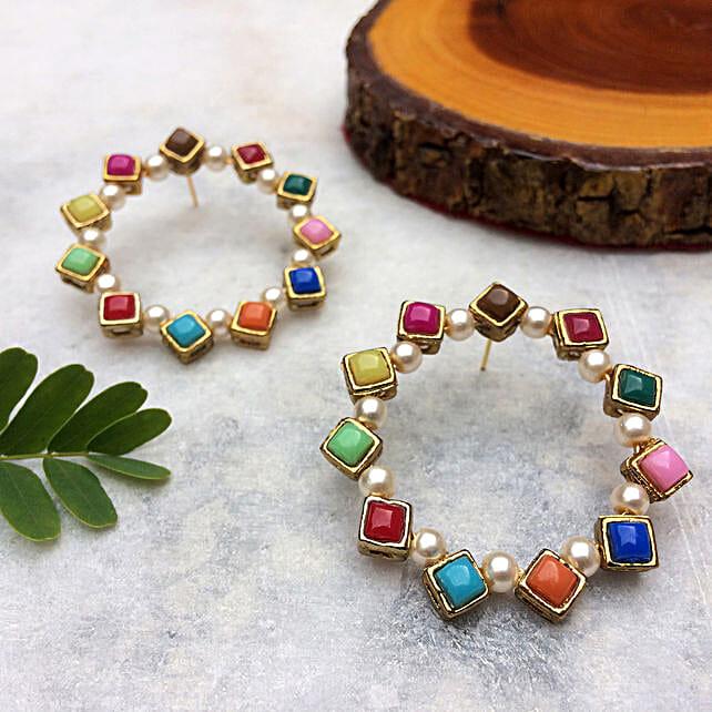 Pearl And Resin Multicolored Hoop Earrings