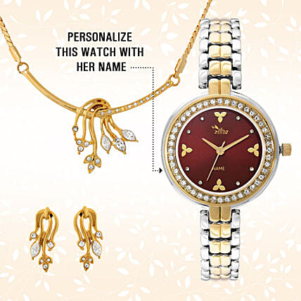 Personalised Watch & Golden Pendant Set:Personalised Wrist Watch