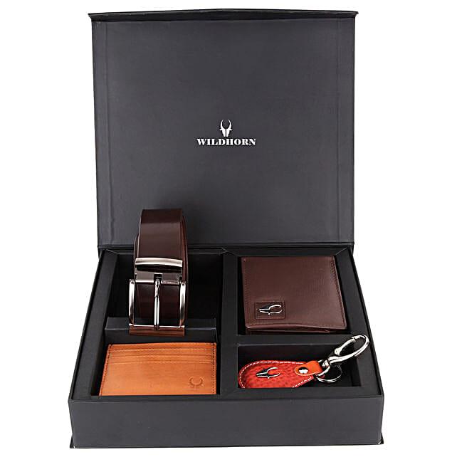 Wildhorn Mens Leather Wallet Gift Set Brown