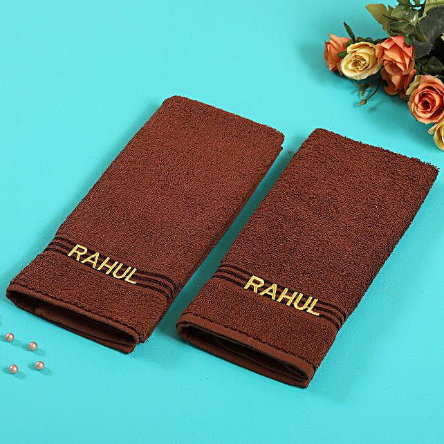 Personalised Brown Cotton Towel Pack Of 2