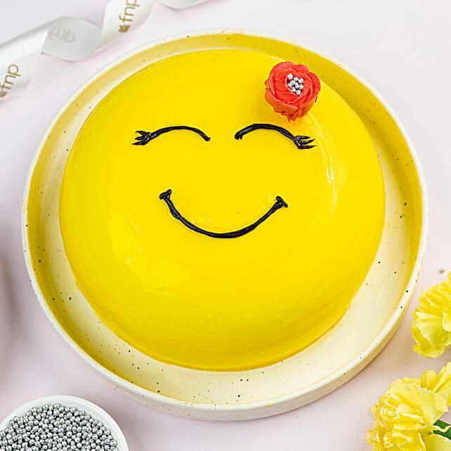 Happy Emoji Pineapple Cake:Birthday Cakes for Kids