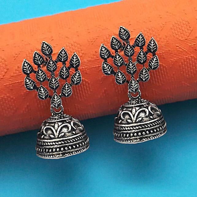 Drop Design Oxidised Dome Jhumki Earrings