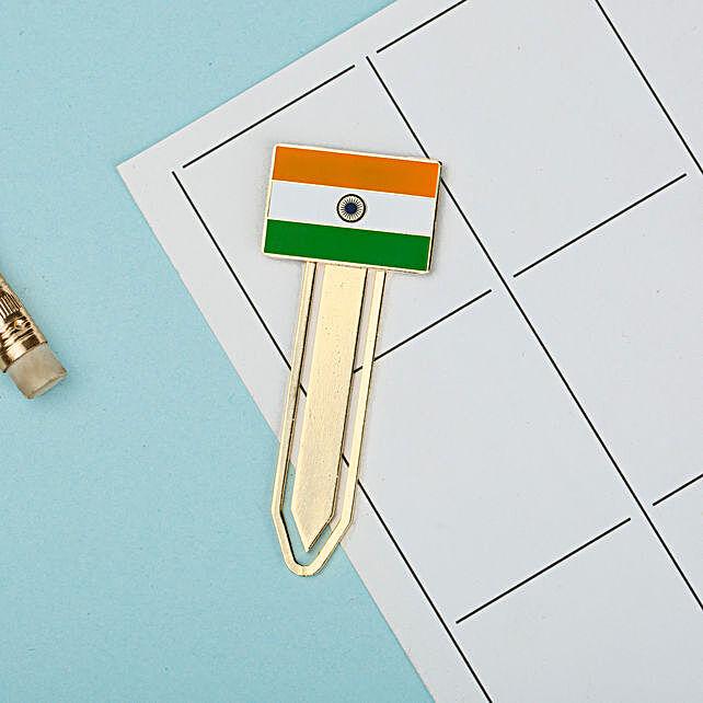 Indian Flag Metallic Bookmark