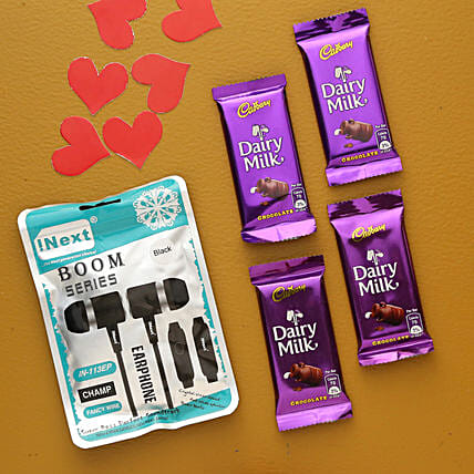 I Next Boom Series Earphone And Dairy Milk