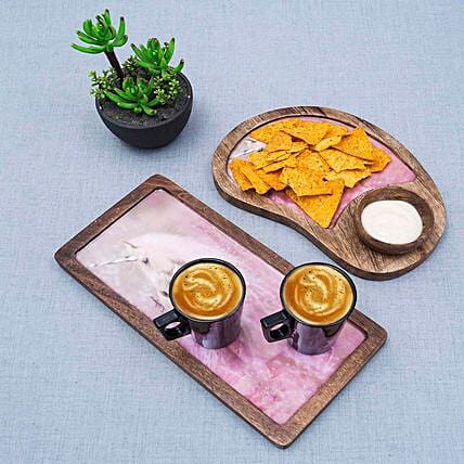 Beautiful Wooden Serving Tray with Bowl
