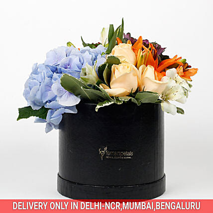bunch of flowers in beautiful box
