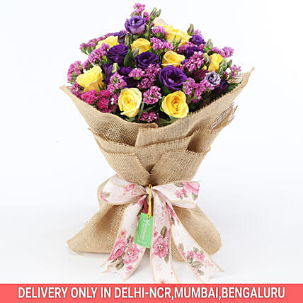 Send Online Colourful Bouquet Of Mixed Flowers