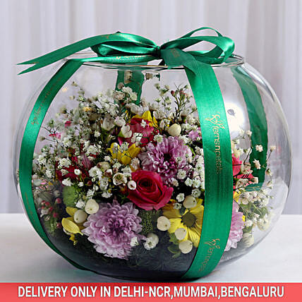 fish bowl flower arrangement