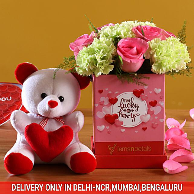 Floral Love Arrangement & Cute Teddy