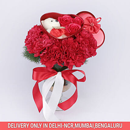 Online Red Carnations Arrangements:Thank You Soft toys