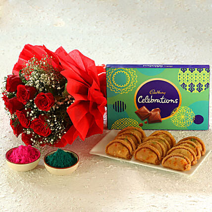 Gulal, red rose bouquet, gujia, cadbury celebrations hamper