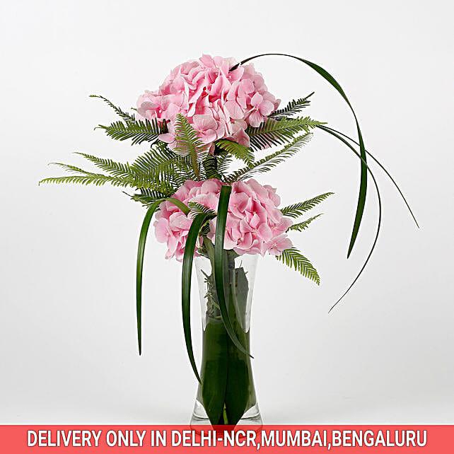 peregrine pin hydrangeas in attractive vase