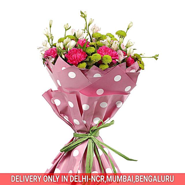 Flower Bouquet with Polka dot Wrap