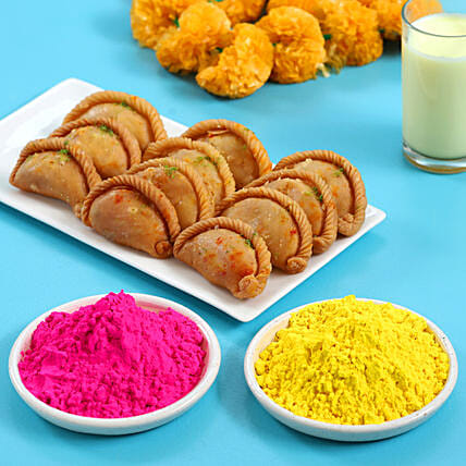Holi Special Traditional Gujiya Gulal Packets