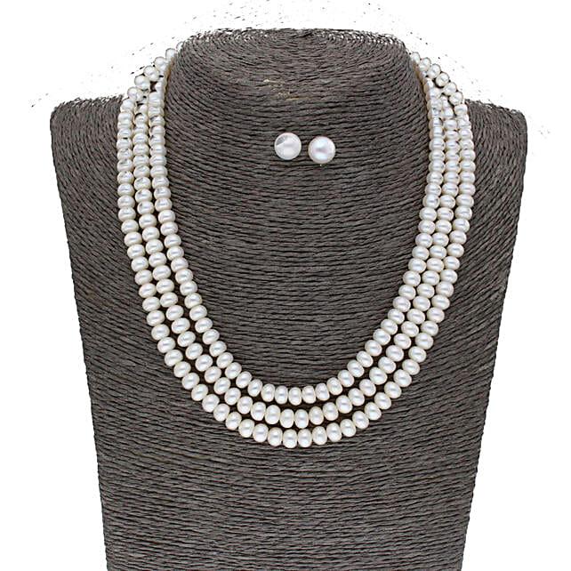 3 Line Plain Button Pearl Set:Jagdamba Pearls-jewellery