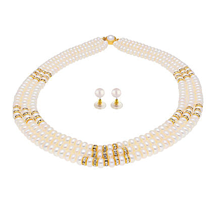 3 String Cz Pearl Necklace