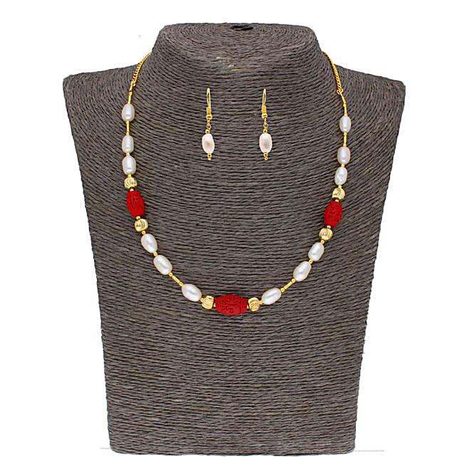 Single Line Siddhi Pearl Set:Jagdamba Pearls-jewellery