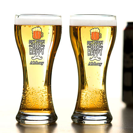Don t Worry Beer Happy Personalised Beer Glass Set Of 2