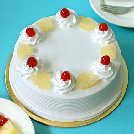Pineapple Cakes Half kg Eggless:Birthday Cakes Raipur