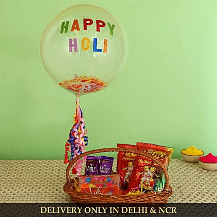 Happy Holi Basket Hamper:Send Holi Colours