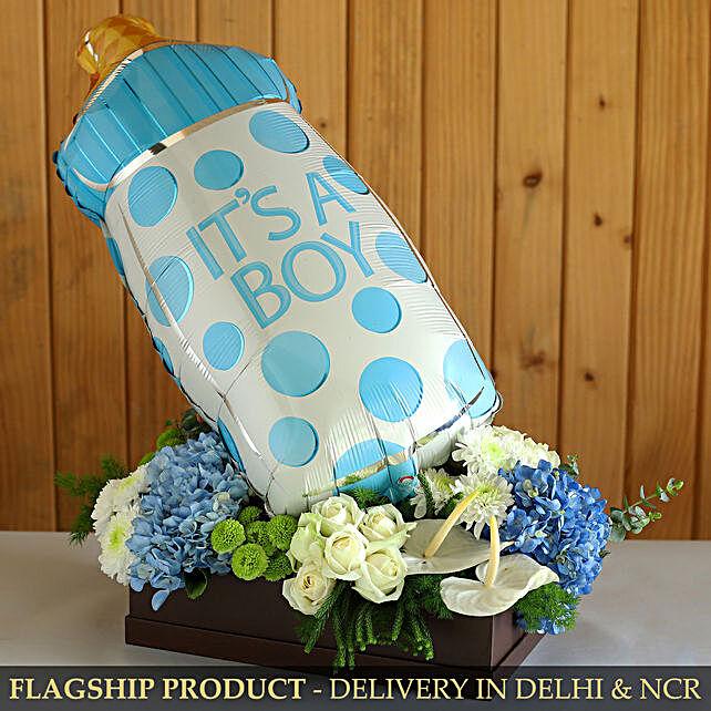 It s A Boy Foil Balloon And Mixed Flowers Lovely Arrangement