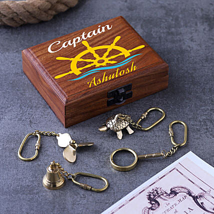 Keychains In Personalised Wooden Box Set Of 4:Personalised Antique gifts
