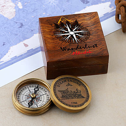 Steam Engine Compass With Personalised Wanderlust Box:Personalised Antique gifts