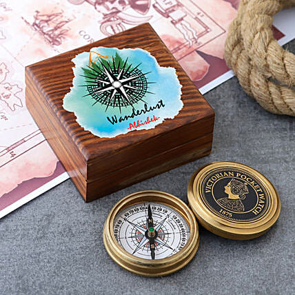 Victorian Compass With Personalised Wanderlust Box
