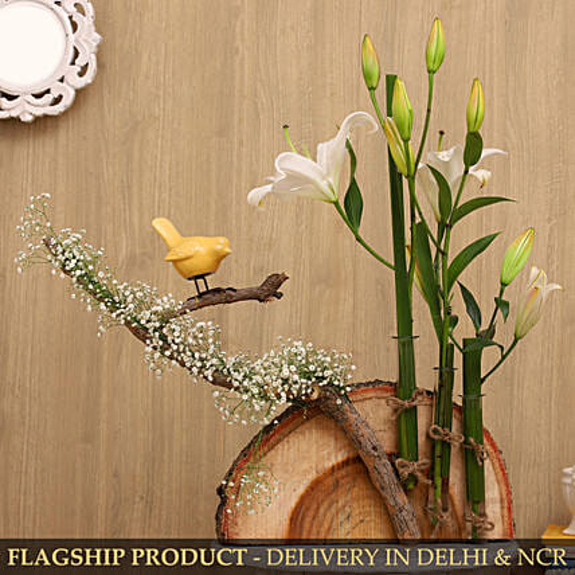 Beautiful Oriental Lilies On Wooden Log