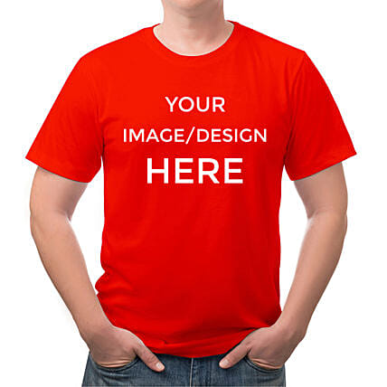 Personalised Red Cotton T Shirt:Send Personalised Tee Shirts