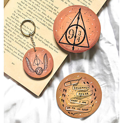 Harry Potter Handpainted Coasters And Keychain