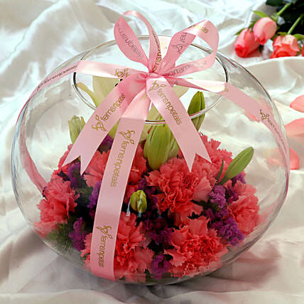 Mixed Flowers In Beautiful Ribbon Tied Fish Bowl