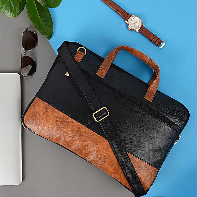 Vivinkaa Black And Tan Leather Unisex Laptop Bag