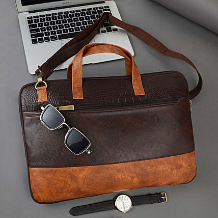 Vivinkaa Tan And Coffee Laptop Bag For Men And Women