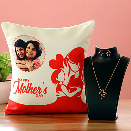 Happy Mother Day Personalised Cushion And Necklace Set Hand Delivery