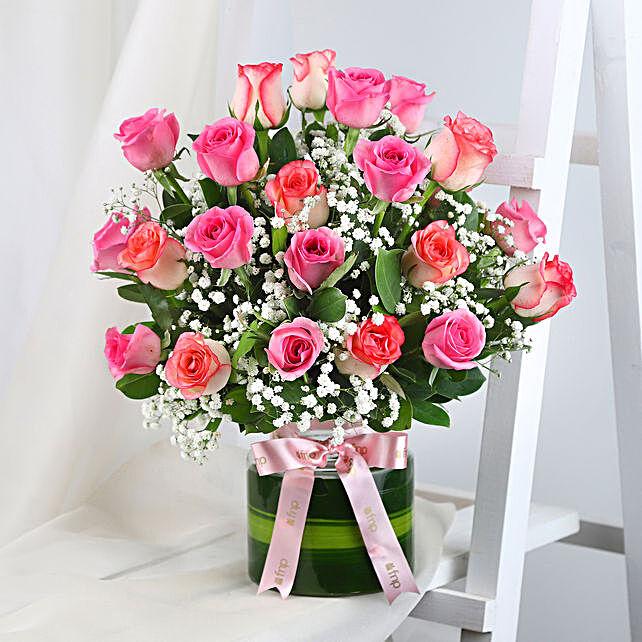 Beautiful Pink Roses Glass Vase Arrangement